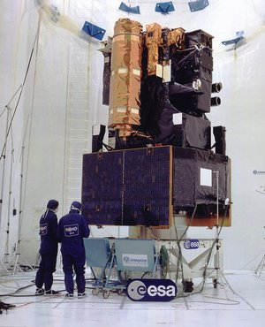 Integration test of ESA's SOHO satellite in Toulouse in April 1995