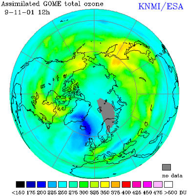 Ozone hole over the Atlantic 9 November 2001