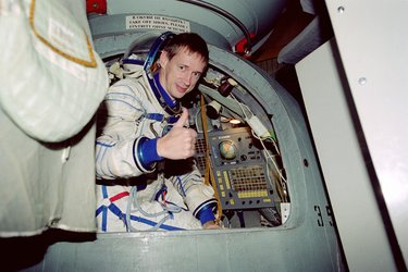 ESA astronaut Frank De Winne in the Soyuz simulator during training at Star City.