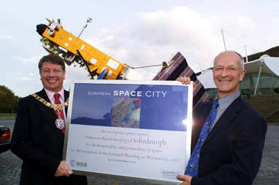 Lord Provost of Edinburgh, Eric Milligan and ESA astronaut Claud