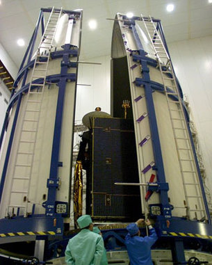 The payload fairing with Insat 3C inside.