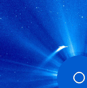 Comet Machholz 1 seen close to the Sun by SOHO on 8 January 2002