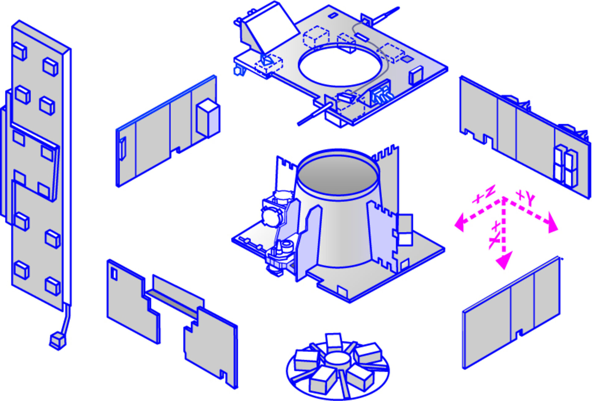 Exploded view of the main subsystems (view 2)