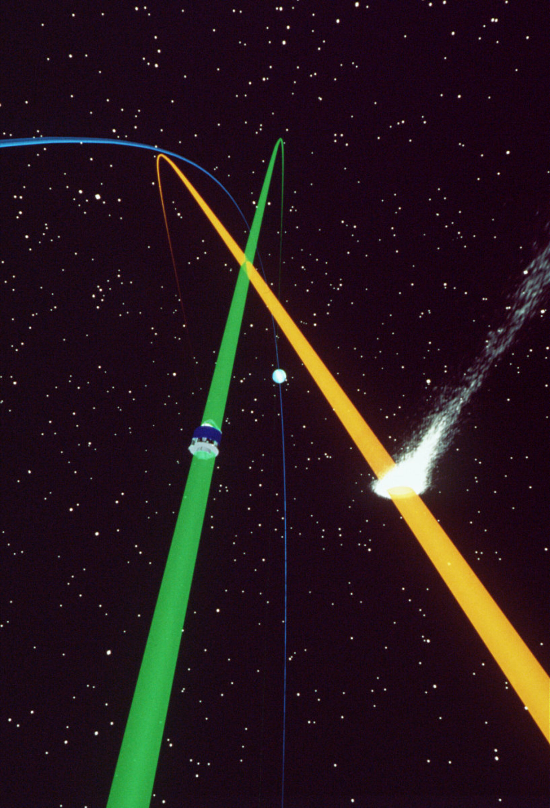 Giotto and Comet Grigg-Skjellerup approaching each other