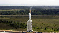 Ariane 5 slowly approaching the launch pad