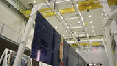 Artemis solar array deployment test in ESTEC's facilities.