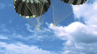 Artist view of the ARD splashdown with parachutes.