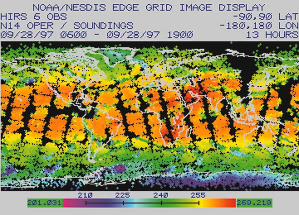 Global atmospheric temperature data from HIRS channel 6 on the NOAA 14 satellite