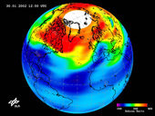 Low-ozone event over Northern Hemisphere on 30 January 2002