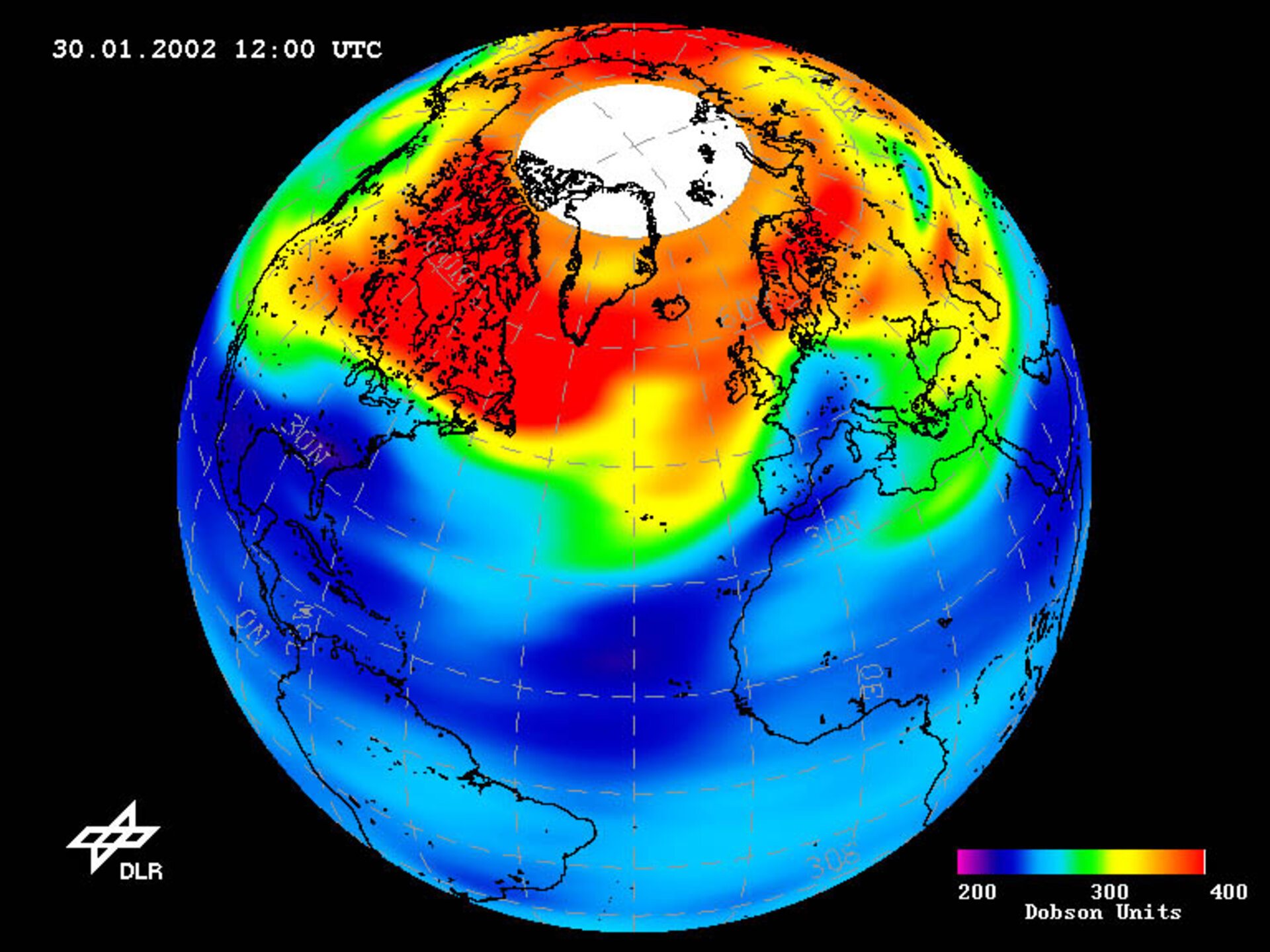 Low-ozone event over Northern Hemisphere, 30.01.02