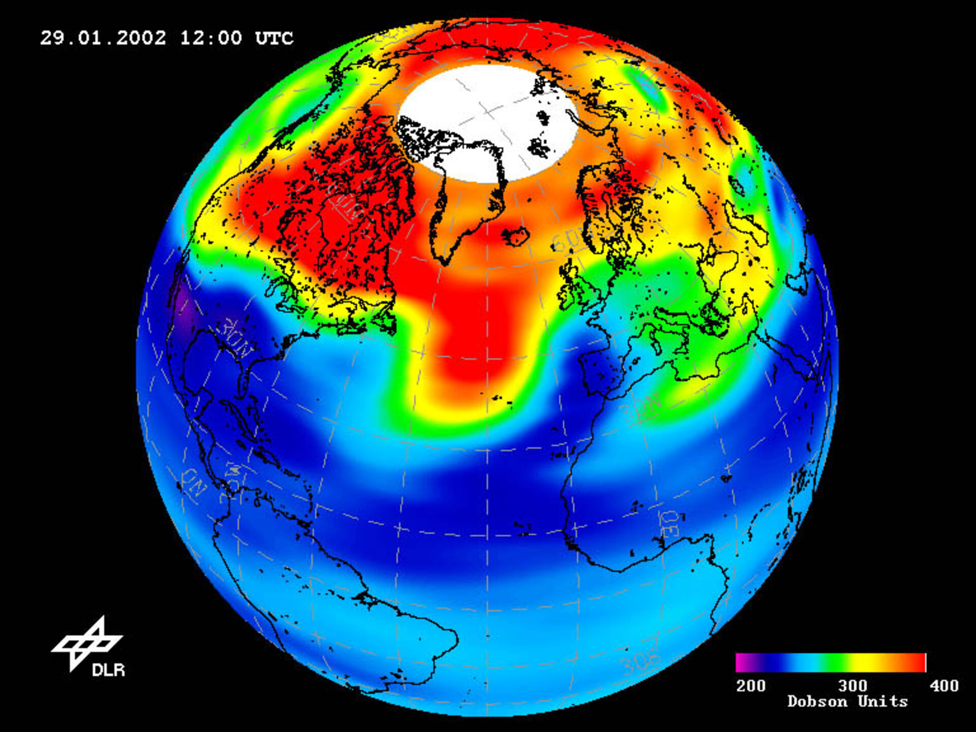 Low-ozone event over Northern Hemisphere on 29 January 2002