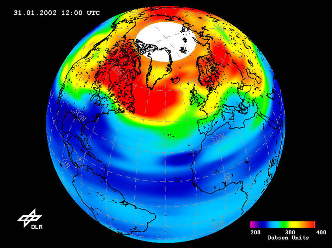 Low-ozone event over Northern Hemisphere on 31 January 2002