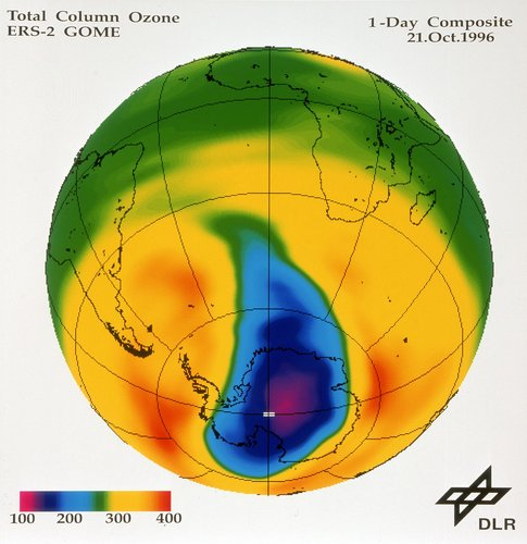 Total Column Ozone on 21 October 1996