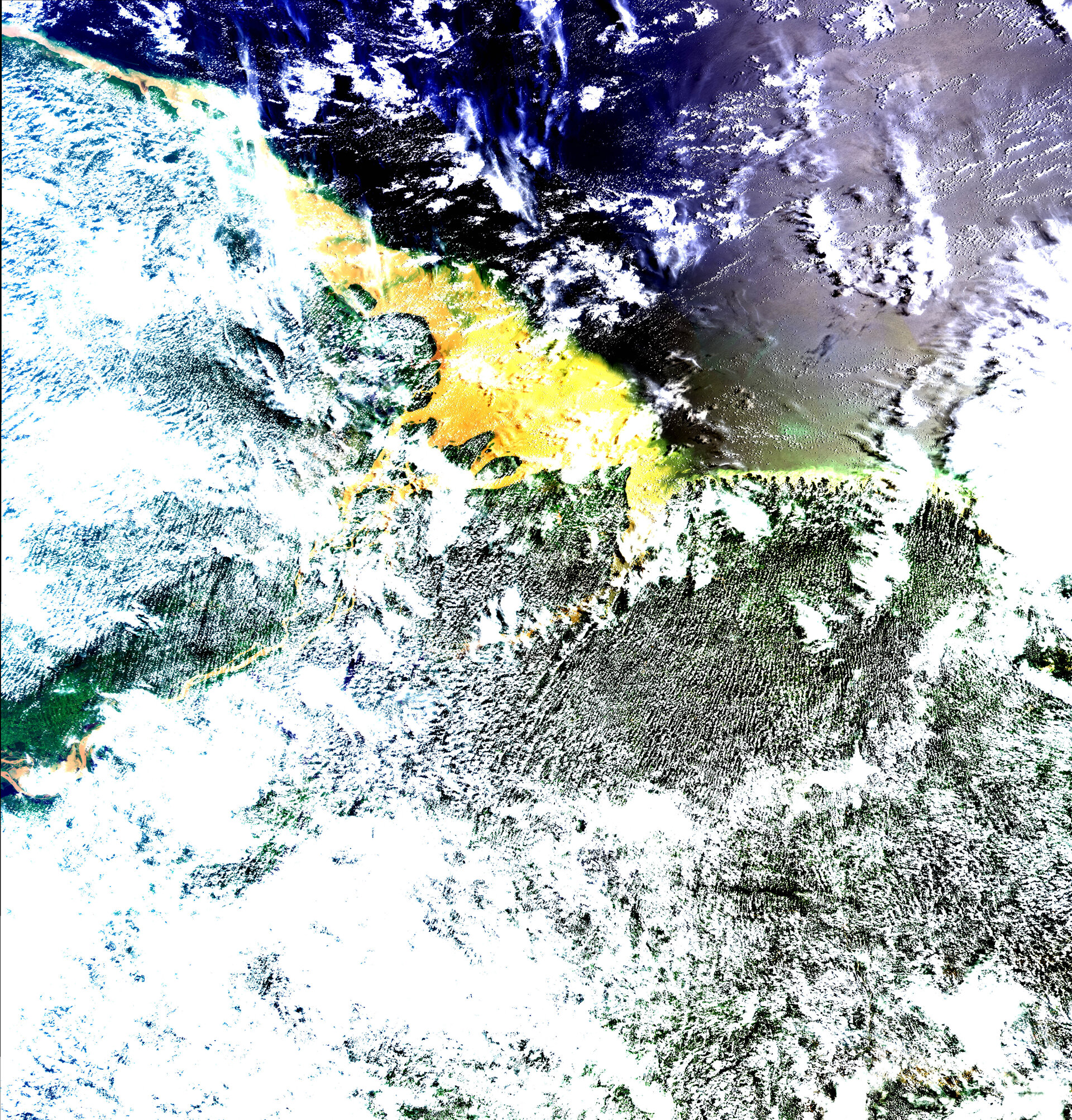 Meris image of the mouth of the Amazon,  25 March 2002