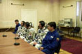 Last checks after Marco Polo crew dons spacesuit at Baikonour