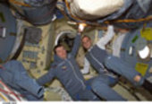 Roberto Vittori and Mark Shuttleworth on board the ISS