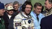 Roberto Vittori going up to the Soyuz capsule