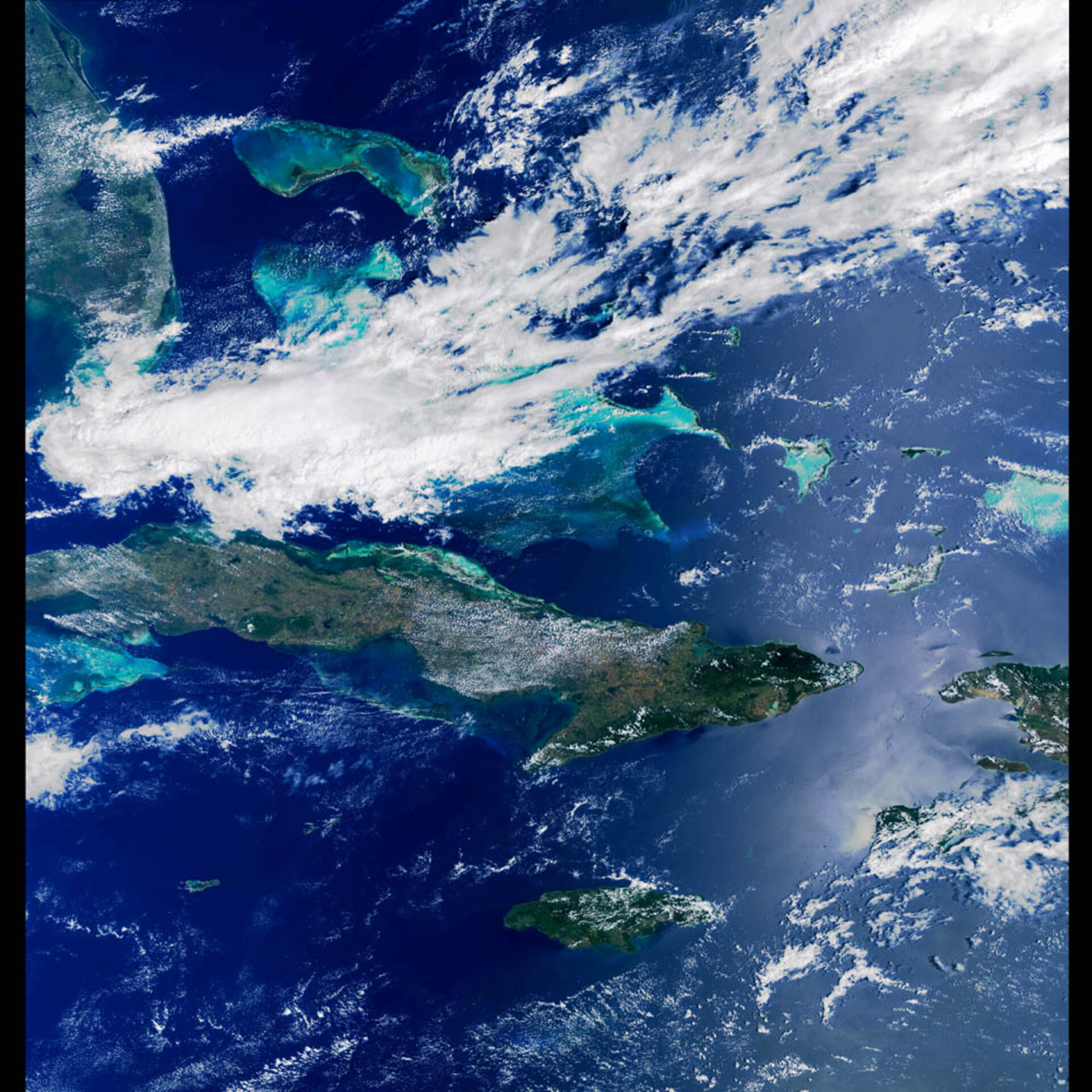 Satellite image of the Caribbean Sea taken by the MERIS instrument on board Envisat,   24 March 2002