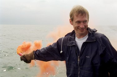 Frank De Winne during his survival training in the Black Sea