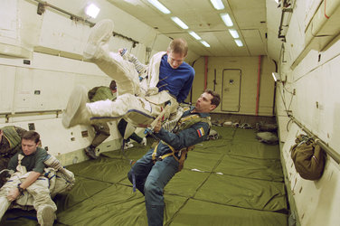 The European astronaut Frank De Winne during his Zero G flight