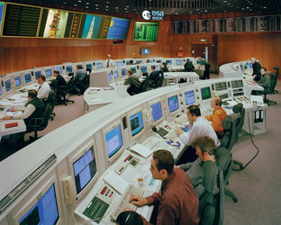 The Main Control Room at ESA's Space Operations Centre in Darmstadt