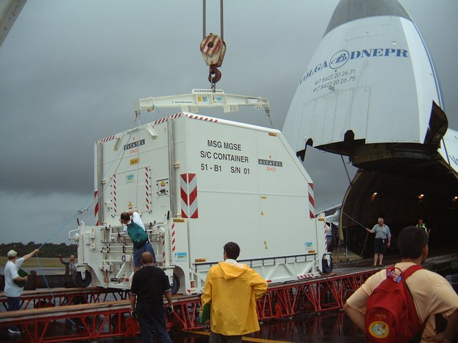 The new European meteorological satellite Meteosat Second Generation unloaded in Kourou, French Guiana