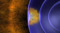Earth's magnetic field buffeted by solar wind