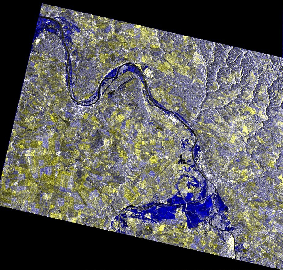 ERS-2 multitemporal synthetic aperture radar image of the August 2002 flooding north of Prague