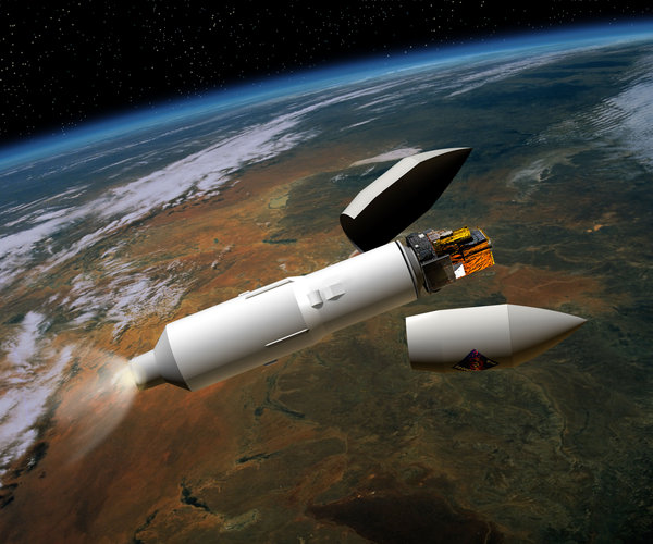 An artist's impression of the Integral and Proton: the launcher with its payload