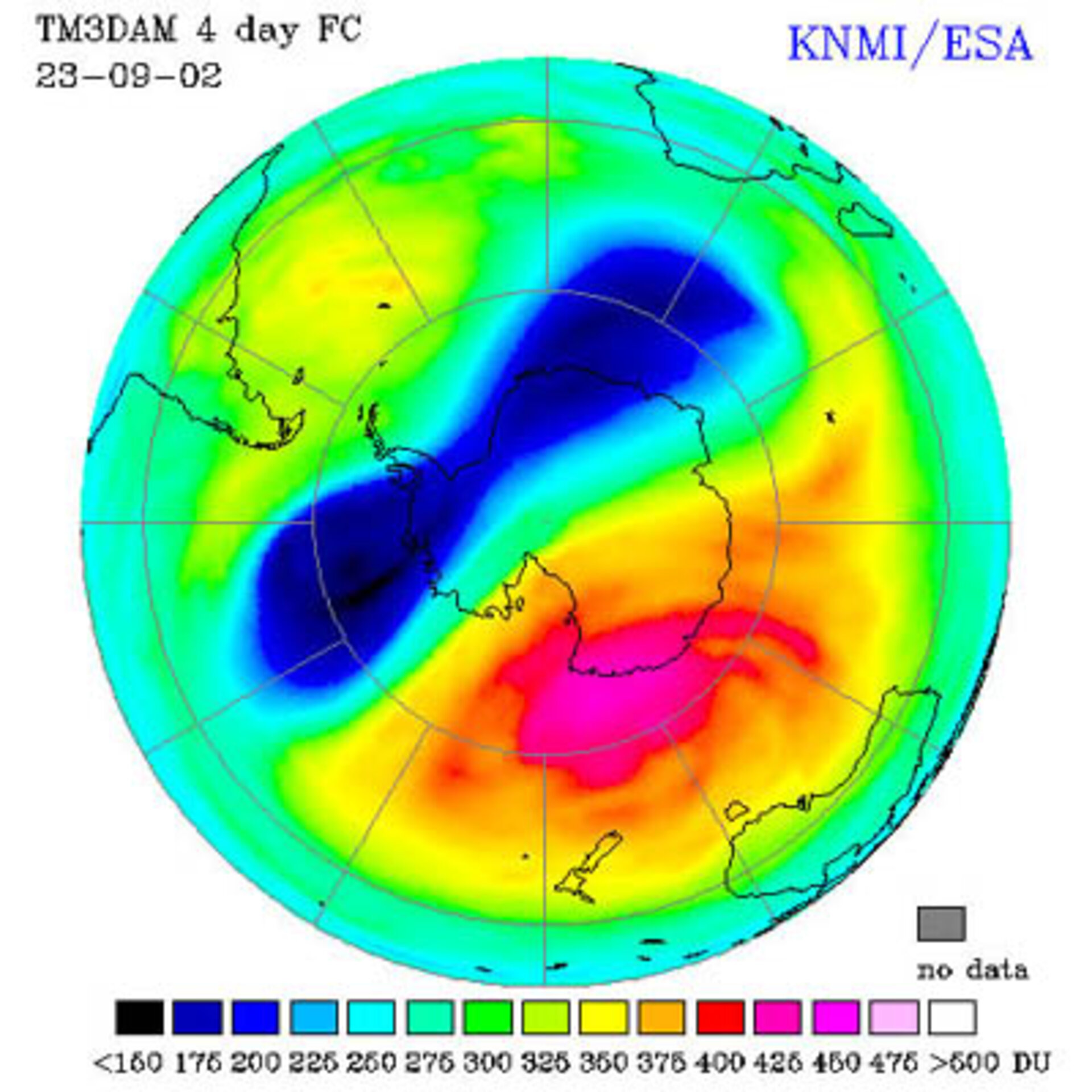 Antarctic ozone forecast for 23 September