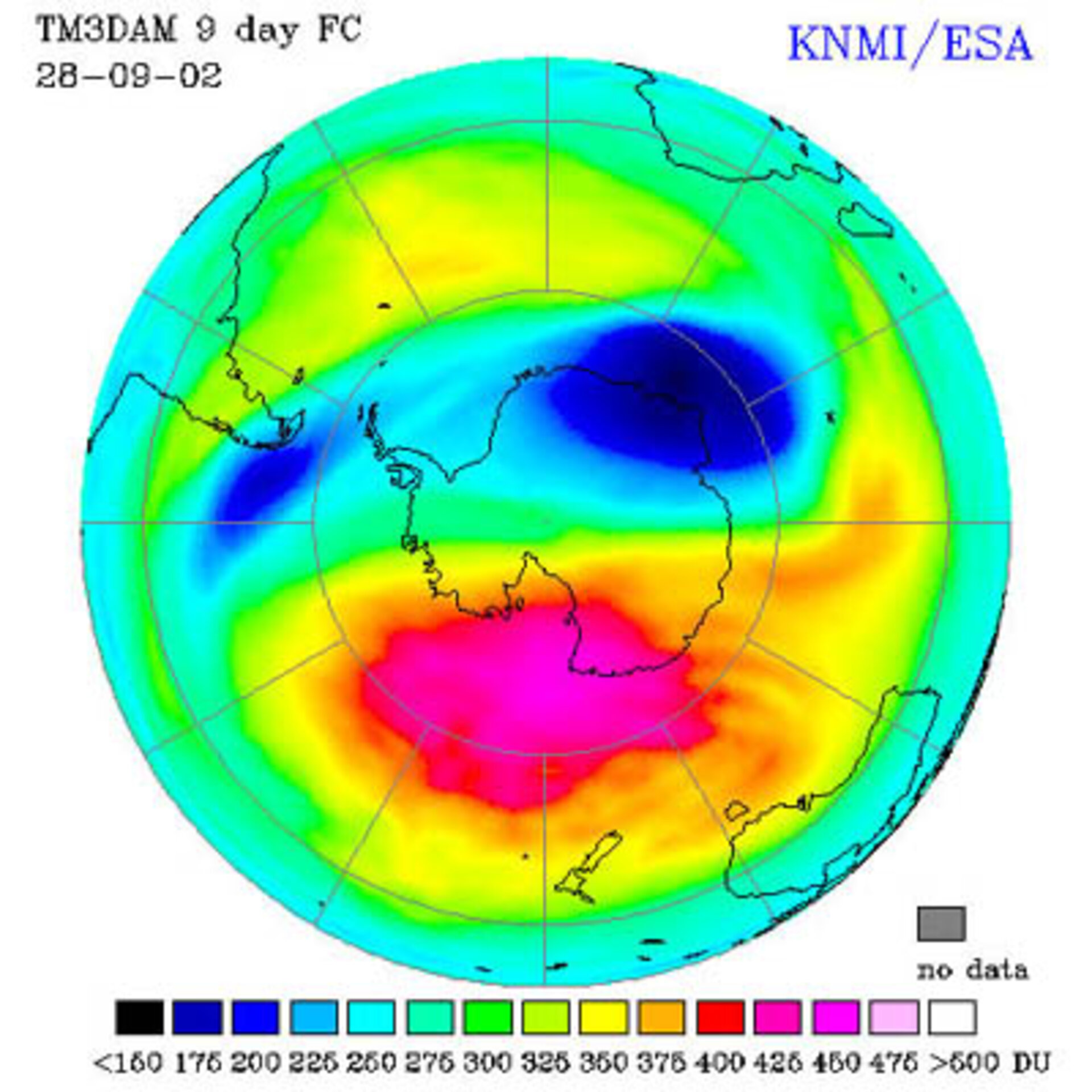Antarctic ozone forecast for 28 September