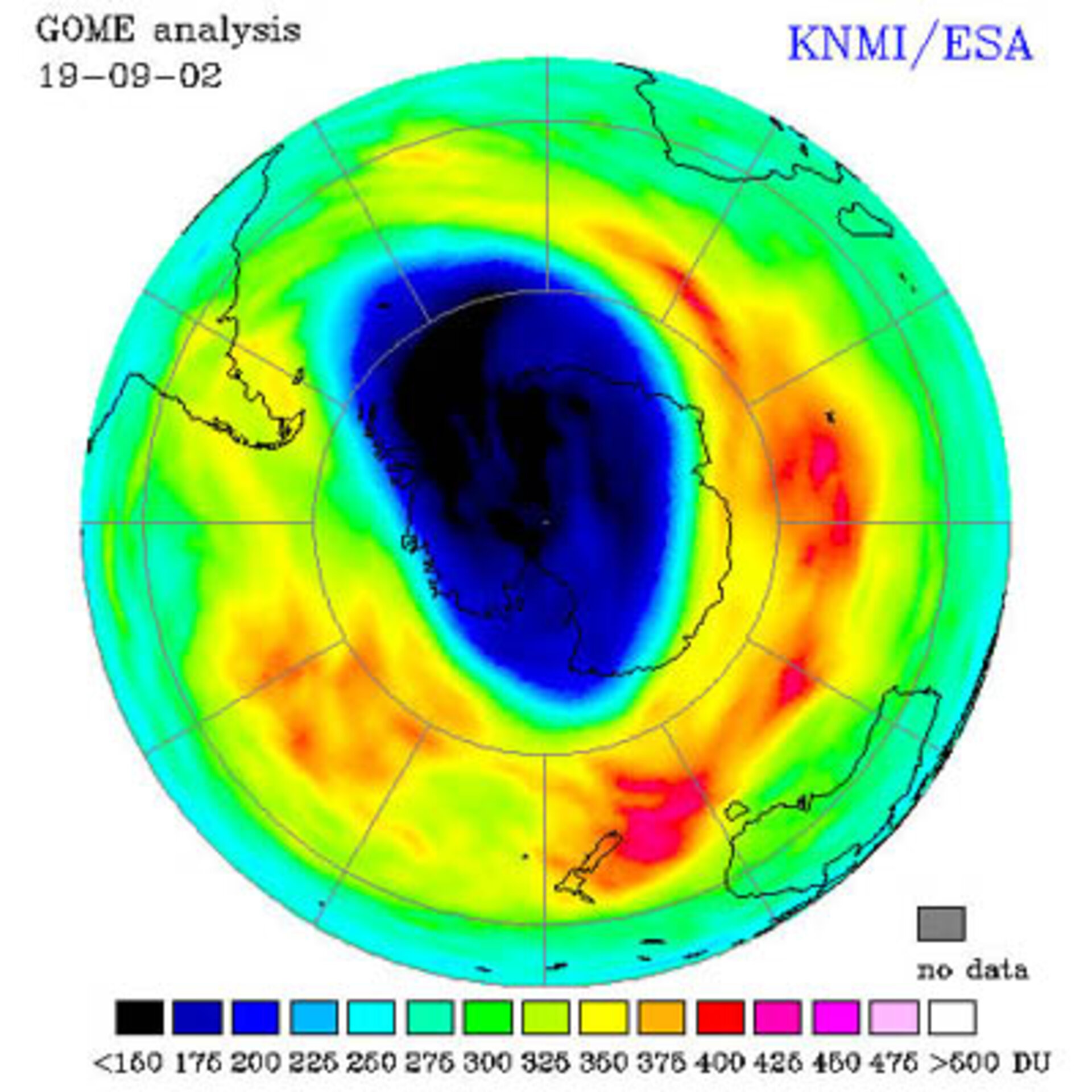 Antarctic ozone hole as observed on 19 September