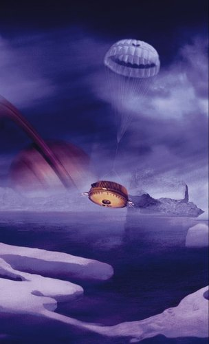Artist's impression of Huygens descending through Titan's atmosphere