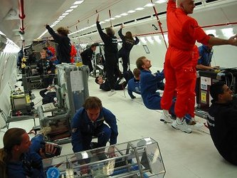 Weightlessness during a parabolic flight
