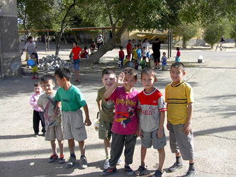 29.09.02  Children in Baikonur smile for the camera