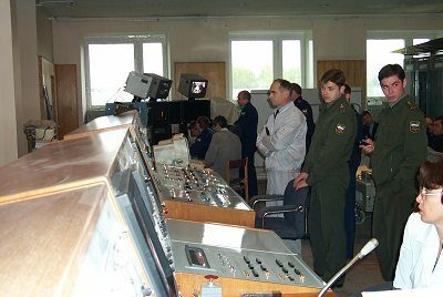 Control room during the landing exam