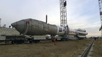 Proton rocket during transport to the launch pad