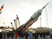 Soyuz launcher is moved into the upright position