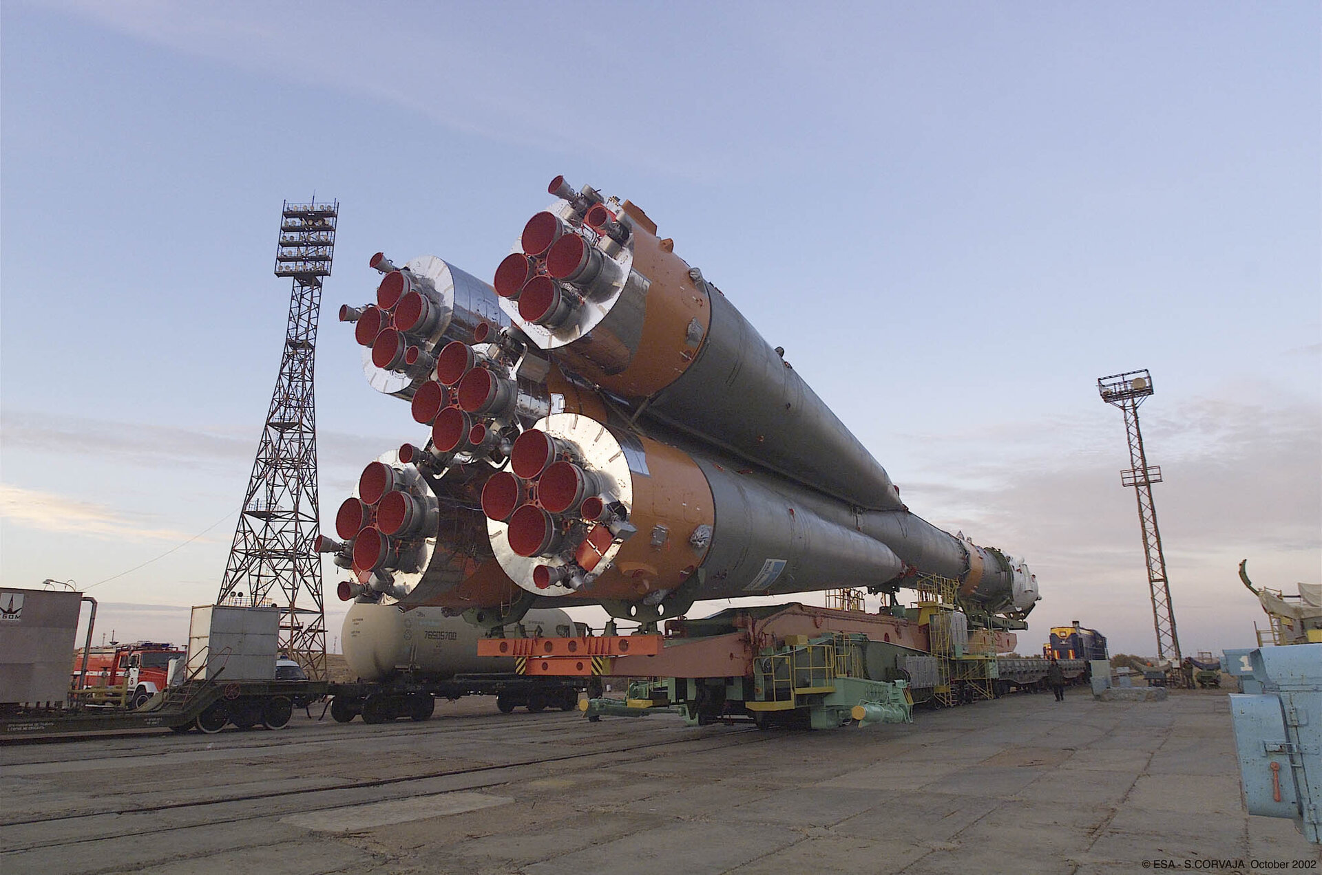 Soyuz launcher is rolled out to the launch pad