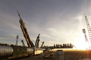 Soyuz launcher roll out to the launch pad and move into vertical position.