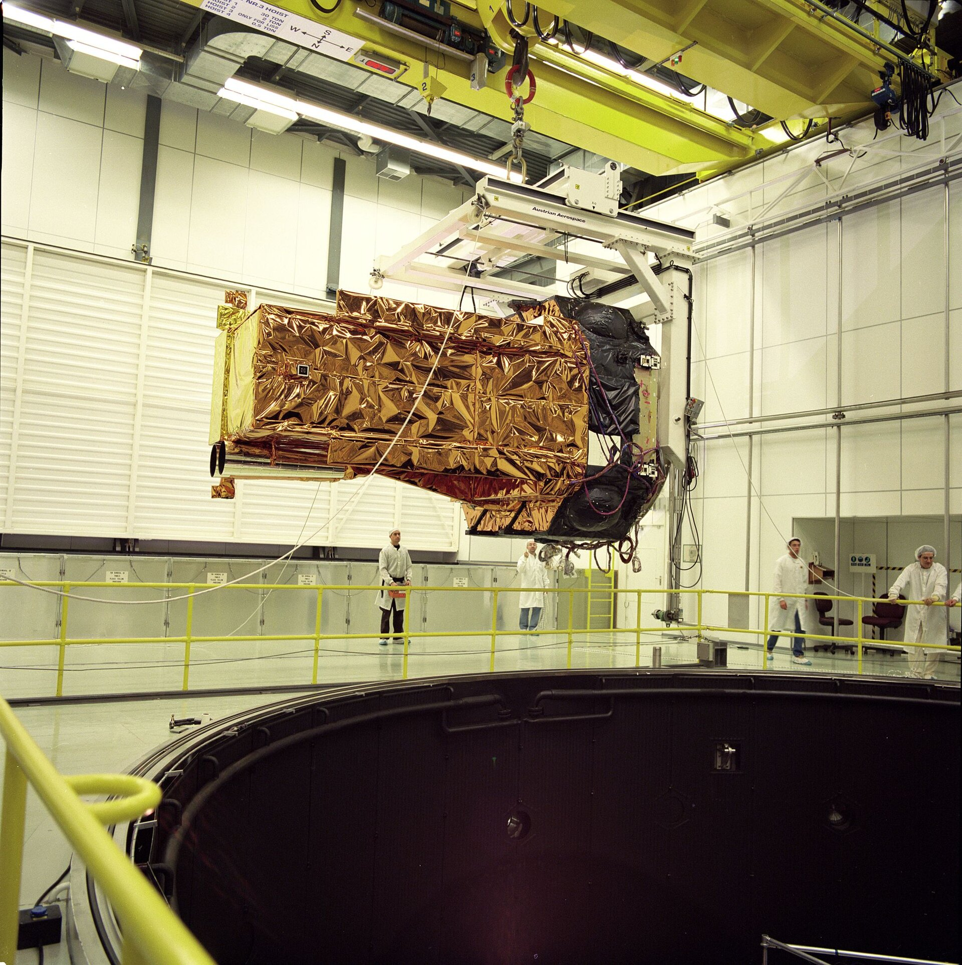 Structural test model of Integral is seen under testing at ESTEC