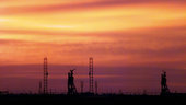 Sunset on the launch pads at Baikonur Cosmodrome