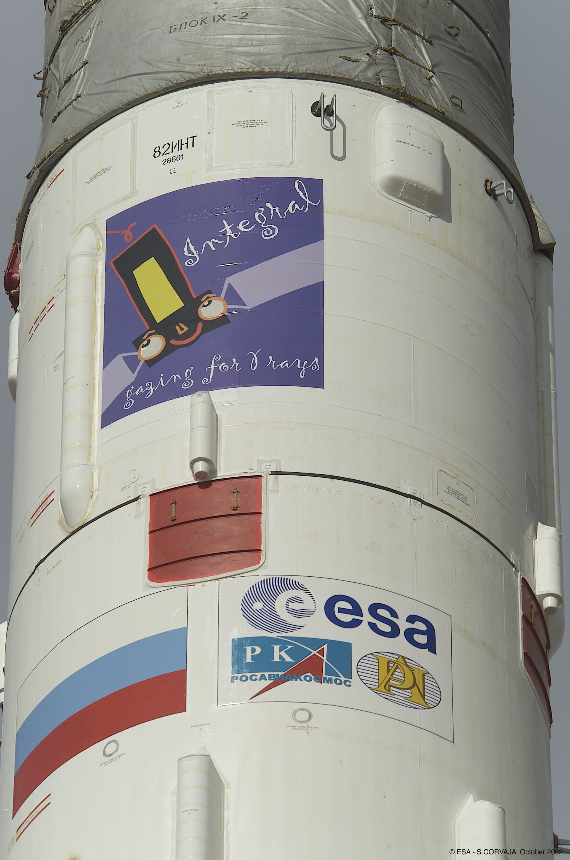 The Integral mission logo on the Proton launcher