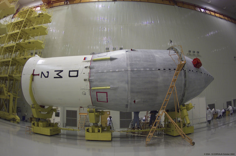 The upper stage and Integral spacecraft ready for the transfer