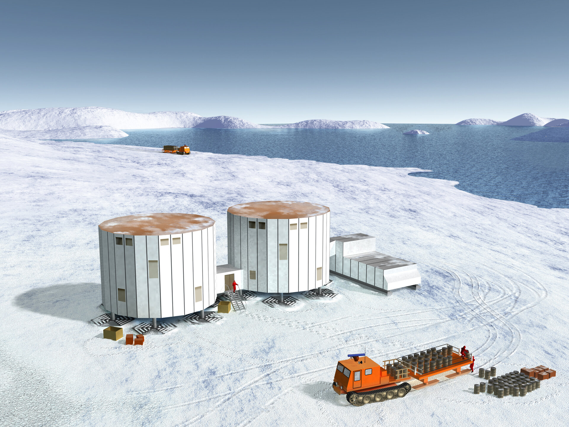 Artist's drawing of the Antarctic station