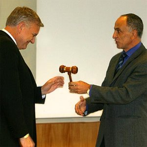 ESA's Achache (right) hands over CEOS gavel to Withee of NOAA