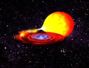 Neutron star (blue) draws nuclear fuel from its companion star (