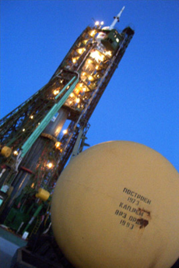 Frank's Soyuz rocket on launch pad number one in Baikonur