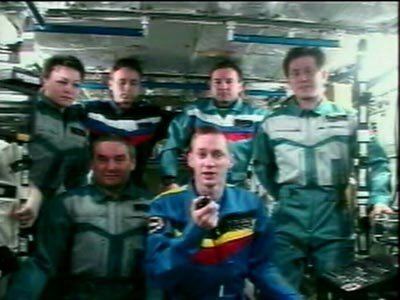 Odissea crew shown here together with Expedition Five crew during a joint inflight call
