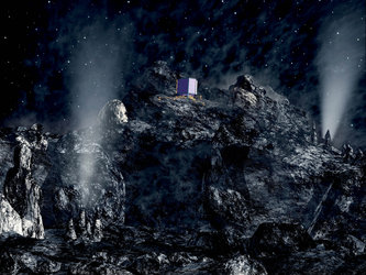 Rosetta's Philae lander descending onto comet nucleus
